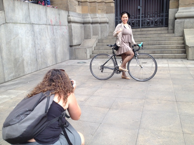 Fotógrafa e a ciclista