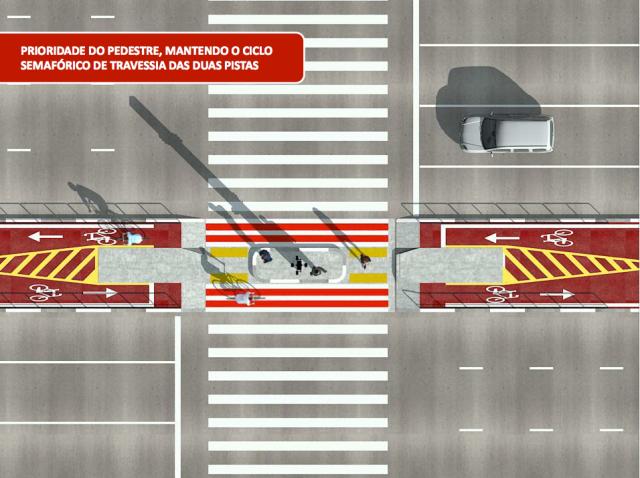 Com 4 metros o canteiro central será para pedestres e ciclistas. (pdf. CET/Reprodução)