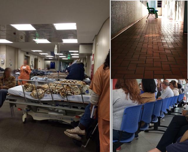 (esquerda) Corredores lotados no PS Geral, onde fui fazer tomografia (DIR alto) Varanda do leito 26b (DIR baixo) fiquei por mais de 26 horas nesta sala a espera de atendimento